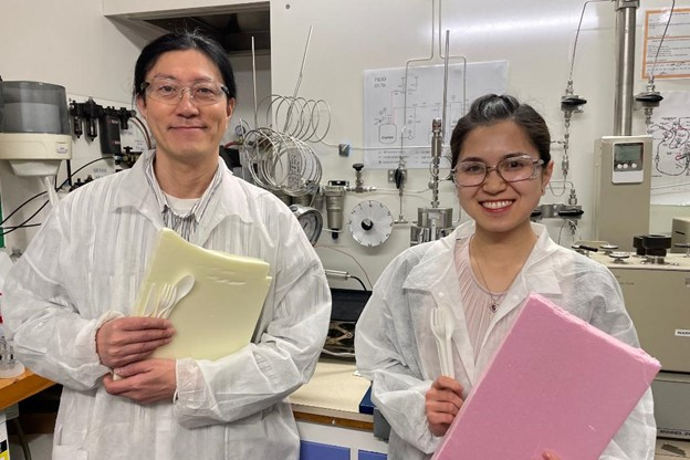 UC Chemical and Process Engineering academic Dr Heon Park with co-author UC Engineering PhD student Lilian Lin and examples of the materials they're studying.