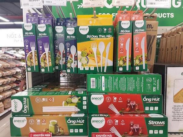 Mua dĩa sinh học phân hủy hoàn toàn AnEco trực tiếp tại các siêu thị, cửa hàng tiện lợi