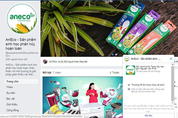 Nhắn tin và đặt mua túi sinh học đựng thực phẩm AnEco trên trang fanpage