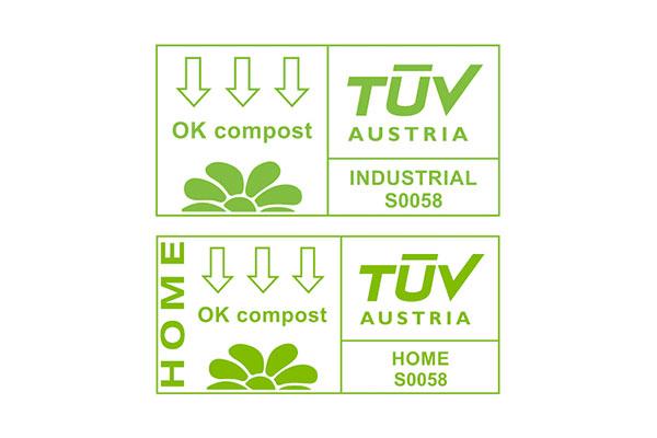 Logo TUV OK compost INDUSTRIAL và TUV OK compost HOME