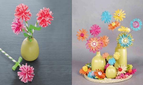 Ống hút nhựa được tái chế thành những bông hoa xinh xắn