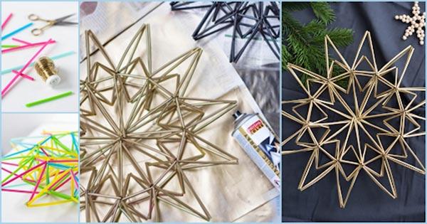 """Làm ngôi sao """"sang chảnh"""" trang trí nhà chỉ từ ống hút nhựa bỏ đi"""