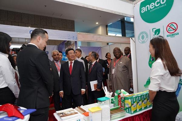 Phó Thủ tướng Phạm Bình Minh thăm gian hàng của Tập đoàn An Phát Holdings