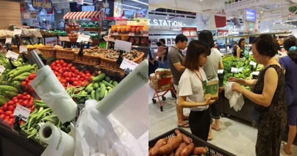Túi sinh học phân hủy hoàn toàn AnEco hiện đang được bày bán tại nhiều siêu thị, cửa hàng