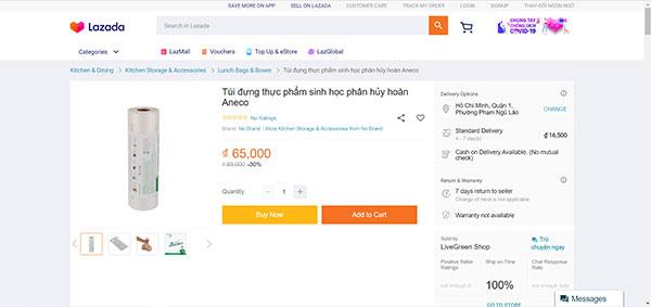 Túi đựng thực phẩm phân hủy hoàn toàn AnEco được bày bán trên Lazada
