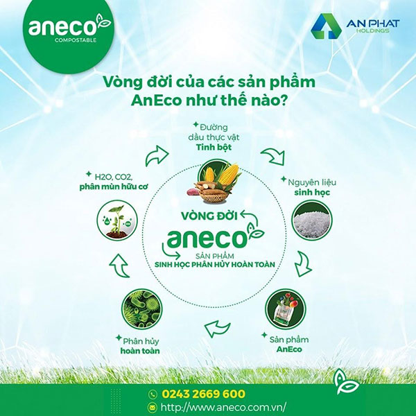 Vòng đời khép kín của các sản phẩm phân hủy sinh học hoàn toàn AnEco